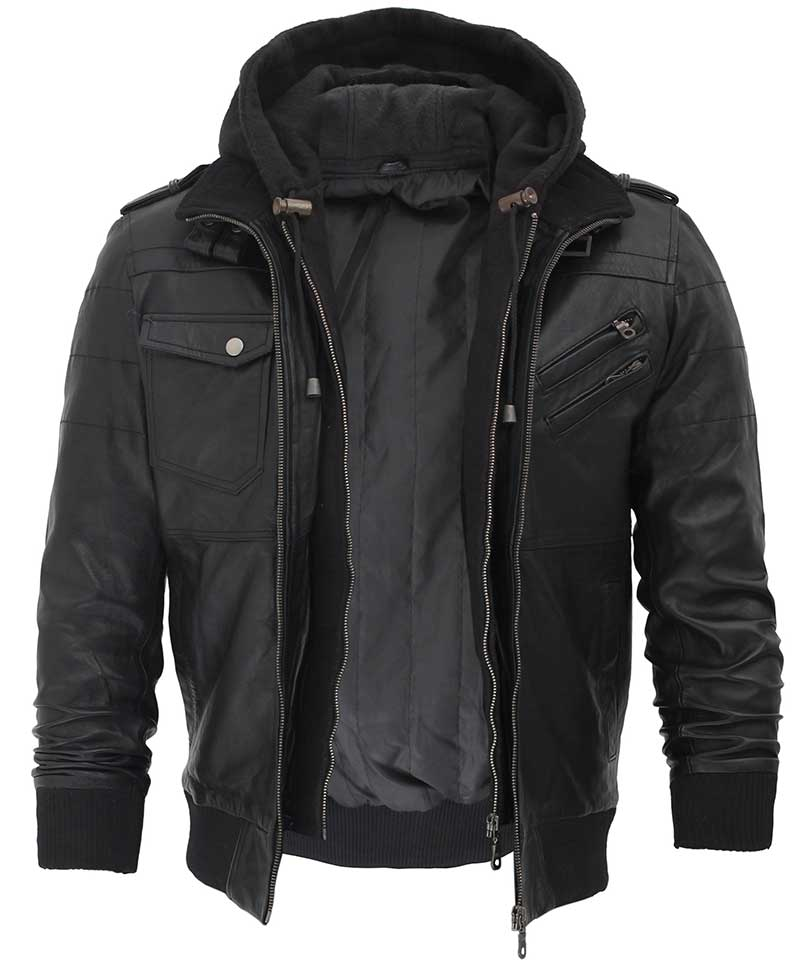 Mens Bomber Black Leather Jacket with Hood