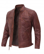 brown leather jacket men