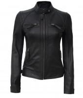 Black Lambskin Leather Jacket Women