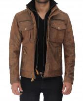 Distressed Leather Brown Jacket