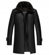 black leather 3 4 length coat